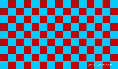 West Ham United Claret en Sky Blue geruit 5'x3' vlag door 1000 vlaggen
