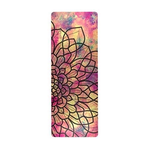 ALAZA Esterilla de yoga abstracta con diseño de mandala, geométrica antigua, antideslizante, gruesa, de goma, ecológica, para niños, para el hogar, plegable, para hacer ejercicio