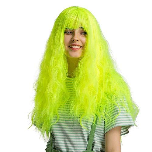 Pkfinrd WIG Fluorescente Vague Verte Naturelle bouclés Cheveux Cheveux Chimiques Chimique Hood Hood Lady Fille Perruque