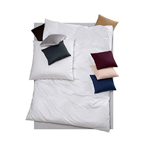 DORIS MEYER Interlock-Jersey Wendebettwäsche Milano weiß 1 Bettbezug 135 x 200 cm + 1 Kissenbezug 80 x 80 cm