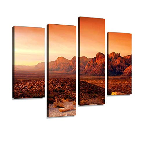 Red Rock Canyon, Nevada Canvas Wall Art Hanging Paintings Modern Artwork Abstract Picture Prints Home Decoration Gift Unique Designed Framed 4 panel
