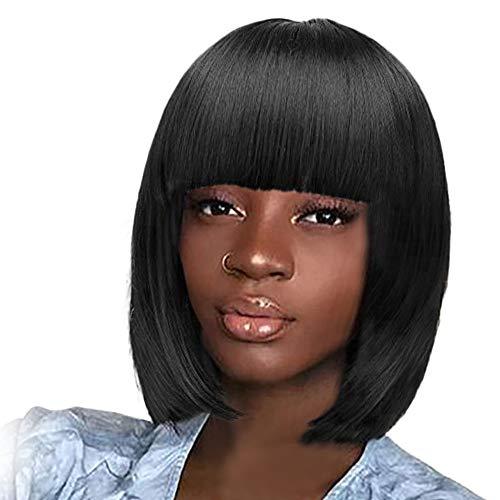Tonsee Mode Perruques de cheveux Bob court charme 30cm directement avec la perruque colorée synthétique Bangs Flat