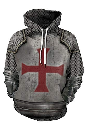 NEWSAIL Adult Medieval Knight Templar Hoodie Halloween Cosplay Sweatshirt Costume Templar Knight Shirt (X-Large, Style-1)
