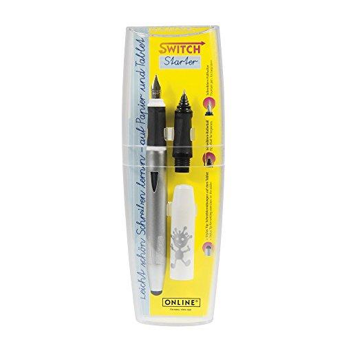 ONLINE Schreiblern-Füller Switch Starter White im Set, mit stabiler Iridium-Feder A (Anfänger),Tintenpatronen-Rollerball Griffstück und Stylus Tip
