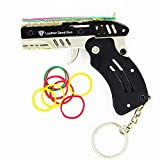 SUNNYHILL Rubber Band Gun New Generation Upgrade Mini Metal Foldable Toy Gun Keychain Quickly Shoot 8 Rubbers Comes with 100 Color Rubber Bands
