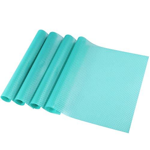 OUNONA 4pcs Refrigerator Pad Kitchen Cabinet Liners Cupboard liners Antibacterial Antifouling,Mutifunctional(Transparent Blue)