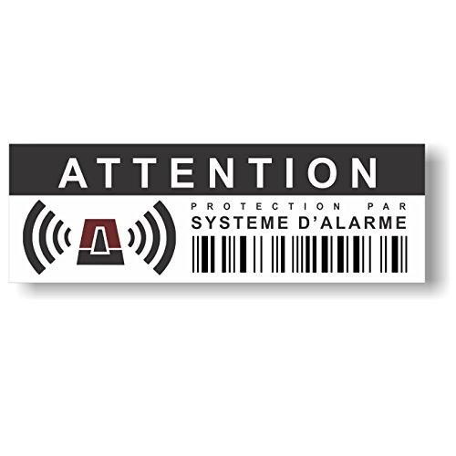 Autocollants dissuasifs Contre Les effractions et Vols - Protection par système d'alarme - Dissuasif même sans Alarme installée - Lot de 12 - Dimensions 10,5 x 3,5 cm
