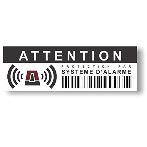 Pegatinas disuasorias contra los allanamientos y vuelosrobos (lote de 12), diseño con texto en francés «Protection par système d'alarme», disuasorias incluso sin alarma preinstalada, 10,5x 3,5cm