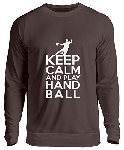 Keep Calm Bleib ruhig und Spiel Handball - Unisex Pullover -L-Schokolade