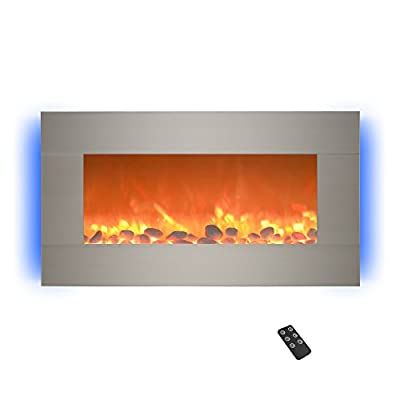 """Home lectric 13 (Brushed Silver) Electric Fireplace-Wall Mounted with 13 Backlight Colors, Adjustable Heat and Remote Control-31 inch by Northwest, 31"""""""