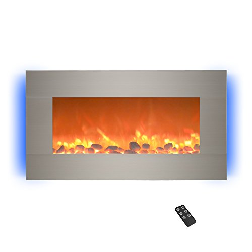 "Northwest 80-BL31-2002 Electric Fireplace-Wall Mounted with 13 Backlight Colors, Adjustable Heat and Remote Control-31 inch, 31"", Stainless Steel Décor Dining electric Features Fireplaces Home Kitchen"