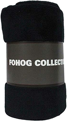Fleece Blanket Black Small Plush Throw Blankets for Couch Flannel Soft Lightweight Microfiber Travel 50' X 60' (Black)