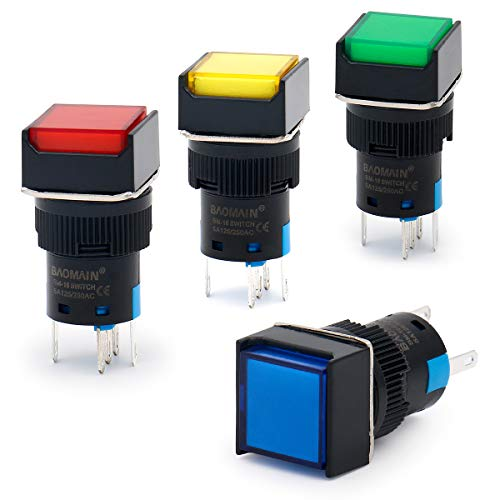 Baomain 16mm Push Button Switch Momentary Square Cap LED Lamp Red Yellow Blue Green Light DC 12V SPDT 5 Pin 4 Pack