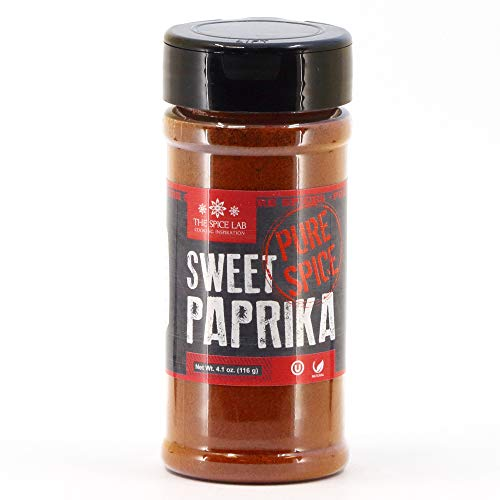 The Spice Lab Sweet Paprika Powder - High Color ASTA 120+ - 4.1 oz Shaker Jar – Premium Gourmet Spanish Paprika Vegan Approved All Natural Kosher Non GMO Gluten Free Spice – Rich in Antioxidants