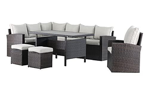 Mandalika Garden Hohe Dining Poly Rattan Lounge inkl. einem Sessel und Zwei Hocker New Milos XL Links Braun auch spiegelverkehrt nutzbar
