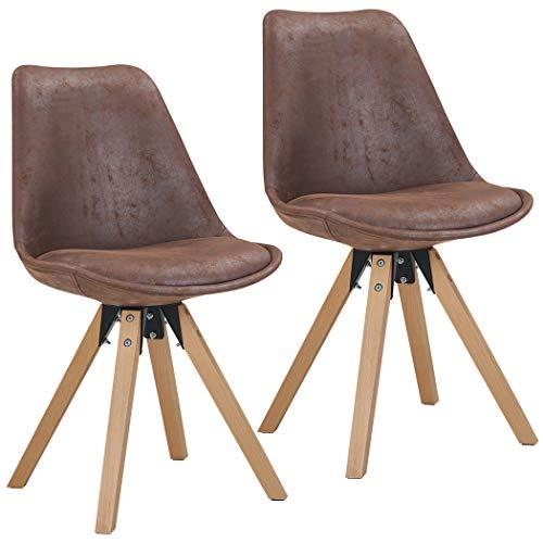 Duhome 2er Set Stuhl Esszimmerstühle Küchenstühle Farbauswahl mit Holzbeinen Sitzkissen Esszimmerstuhl Retro 518M, Farbe:Dunkel Braun, Material:Lederoptik