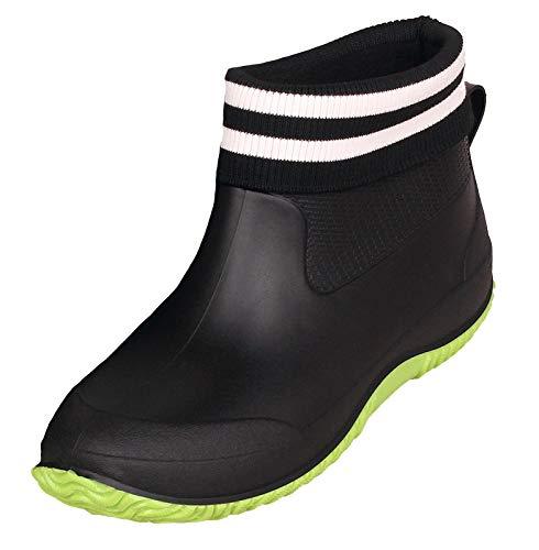 Damskie krótkie kalosze męskie kalosze przeciwdeszczowe antypoślizgowe buty ogrodowe outdoor wodoszczelne buty Chelsea Boots buty do mycia samochodu rozmiar 34-44, czarny - Z podszewką w kolorze czarno-zielonym - 37 eu