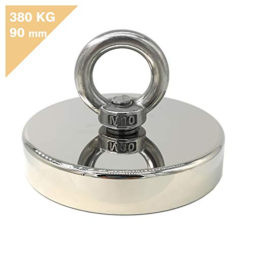 Magnetpro - Imán de neodimio, 380 kg, gran fuerza de sujeción, ideal para pesca con imán de neodimio, 90 mm de diámetro