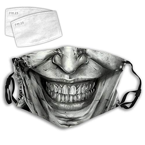 Smiling Scary Joker Crown Unisex Cloth Fabric Mouth Guard, Dust-Proof Face Mouth Bandana Protector, Adjustable Face Neck Gaiter Scarf, Non-Slip Nose Clip, Activated Carbon Replaceable Filters Included