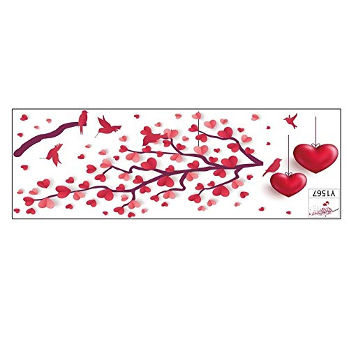 Fensterbilder/Roter Liebeszweig - Vogel - Wandaufkleber/Wohnzimmer Schlafzimmer Valentinstag Liebe Vogel Dekoration Wandaufkleber (Red, 1SET)