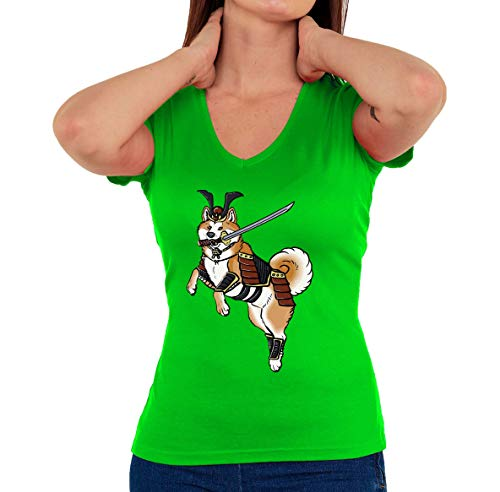 Iprints Samurai Shiba Inu Doge Meme Japan Tokyo vrouwen V-hals T-Shirt
