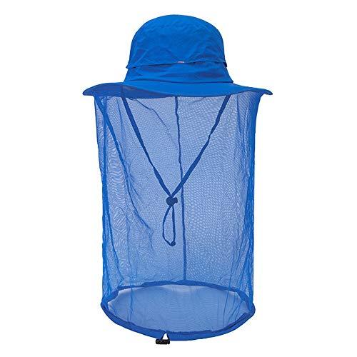 Fishing Net Hat Sun Cap for Man Women Outdoor Garden Work Hidding Blue