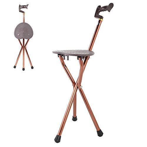 Zer one Silla para Bastones, Silla Plegable portátil de Metal Silla para Bastones para Caminar Asiento del Taburete Silla de bastón de Viaje para Pescar en el jardín Taburete para Eventos de Camping