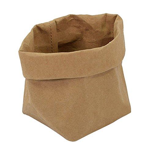 OUNONA Kraftpapier Taschen waschbar Papier Container Graden dekorative Pflanze Taschen Veranstalter Blumentopf Decken, Parteien, Geschenke Taschen, Shopping Gre S (Hellbraun)