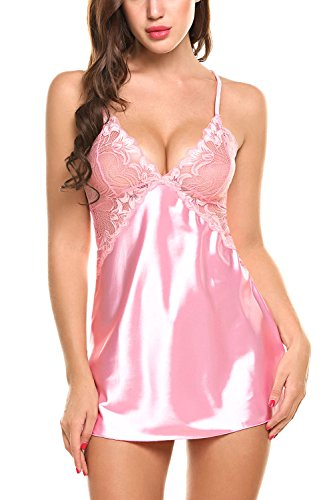 Avidlove Women V Neck Nightwear Sexy Lingerie Satin Sleepwear Lace Chemise Mini Teddy Pink M