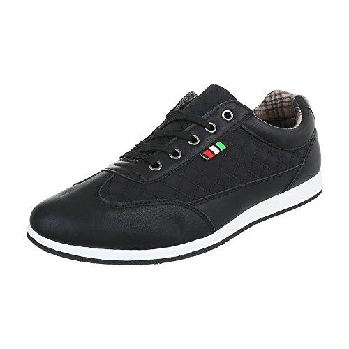 Ital Design Turnschuhe Herren-Schuhe Low-Top Schnürer Schnürsenkel Sneaker Schwarz, Gr 40, C9009-1-