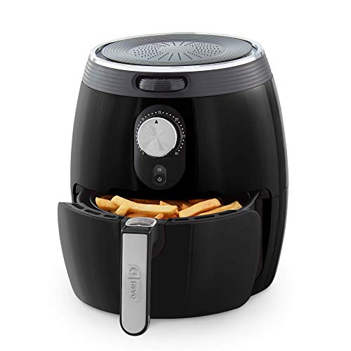 DASH DMAF355GBBK02 Deluxe Electric Air Fryer + Oven Cooker with Temperature Control, Non Stick Fry Basket, Recipe Guide + Auto Shut off Feature, 3qt, Black (Renewed)