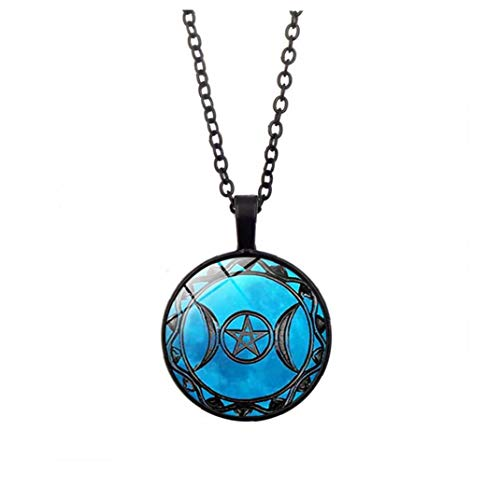 Vintage Moon Pendant Goddess Necklace Triple Moon Goddess Pentacle Pendant Amulet Necklace Key Locket Necklace Convenient Tools