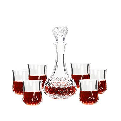 Copa de vino Juego de Botellas de Vidrio de Whisky de Cristal de Siete Piezas de Siete Piezas Embalaje Cerveza Espíritu Botella de Vino de Vino Set de Vino JXLBB