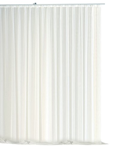 Dekoschal Tenda in Voile Emotion Bianco Organza Nastro Tenda Classica Trasparente Corta, Media o Lunga Store # 1309, Poliestere, White, 500x245