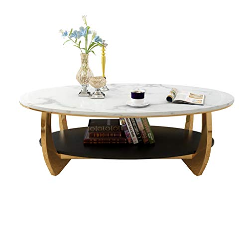 Y-Leah Einfacher moderner ovaler Doppelschicht-Couchtisch, Antikollisionsdesign mit abgerundeten Ecken aus natürlichem Marmor