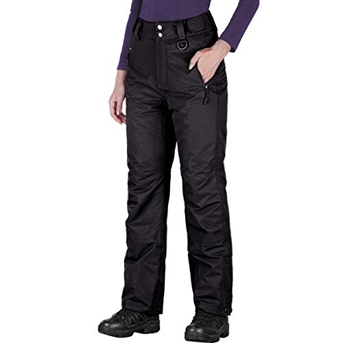 FREE SOLDIER Women's Outdoor Snow Ski Insulated Pants Windproof Waterproof Breathable Pants for Snowboarding (Black Large/US 12-14)