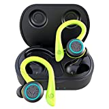 True Wireless Headphones, APEKX Update 5.0 Auto Pairing Touch Control HiFi Stereo Sound Earbuds in-Ear Earphones Binaural Call Headset with Built-in Mic and Charging Case for Sports Running Green
