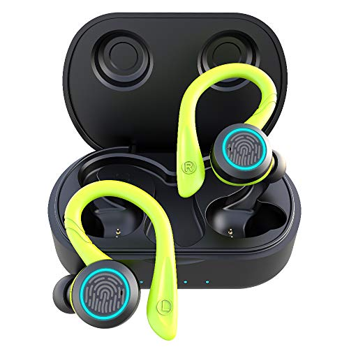 True Wireless Running Headphones, APEKX Update 5.0 Auto Pairing Touch Control HiFi Stereo Sound Earbuds in-Ear Earphones Binaural Call Headset with Built-in Mic and Charging Case for Sports Green