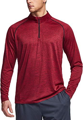 TSLA Men's 1/4 Zip HyperDri Cool Dry Active Sporty Shirt Top, Hyper Dri Quarter Zip(mkz03) - Deep Red & Black, X-Large
