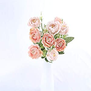TRRT Fake Plants Small Peony Artificial Flowers Bouquet, Rose White Silk Fake Lotus Flowers Wedding Home Decoration Fake Flower