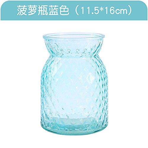 XXAICW Transparente Wasserhyazinthe Vase kleine Glasvasen Glas Flasche Vase Hydrokulturpflanzen Blumentopf Narzissen Blume , Ananas-Flasche blau , Medium