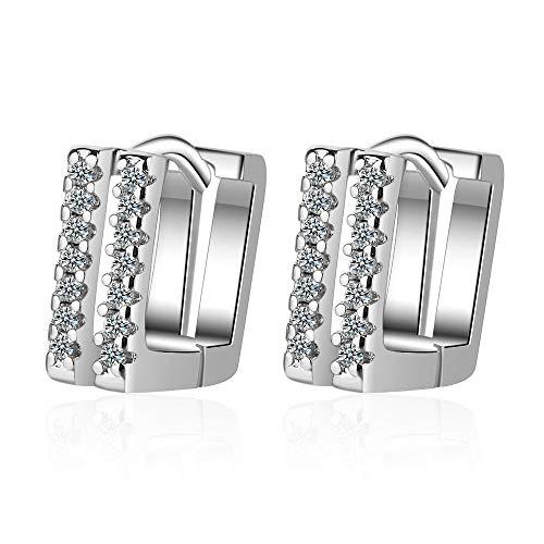 Ohrringe 925 Sterling Silber Ohrringe Sekt Zweireihig Zirkon Ohrstecker Für Frauen-01