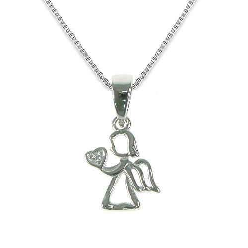 BellaMira 'A Little Fairy Dust Fairy Guardian Angel Wings - Sterling Silver or Silver Plated - Necklace for Girls Christening Holy Communion Birthday Party Gift Boxed (Sterling Silver Angel Necklace)