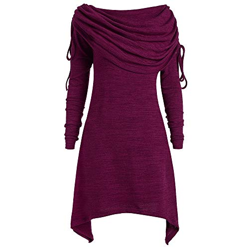TWIFER Damen Solide Geraffte Lange Sweatershirt Off Shoulder Sweater Foldover Kragen Tunika Große Größen (4XL/EU 46, Lila)