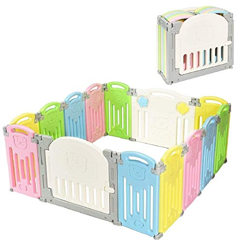 Costzon Baby Playpen, 14-Panel Foldable Baby Play Yards, Baby Fence Kids Safety Playard w/Locking Gate, Non-Slip Rubber Bases, Adjustable Shape, Portable for Indoor Outdoor Use (Colorful, 14-Panel)