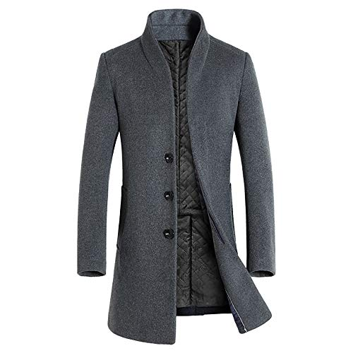 FIRSS Herren Mantel Stehkragen Trenchcoat Verdickung Warm Wintermantel Lange Dicker Midlanges Mantel Dünner Windbreaker Cardigan Jacke Steppjacke
