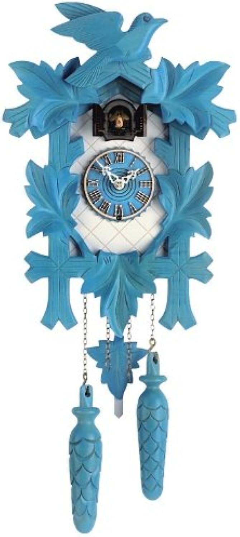 Isdd Cuckoo Clock Tu 350 20Q Quarz-Uhr CUCú, Design 5follajes, Vogel, Blau