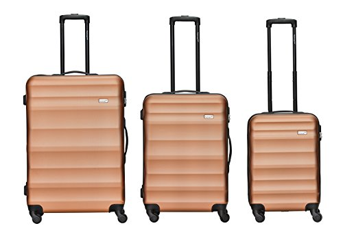 Packenger Kofferset - Timber - 3-teilig (M, L & XL), Bronze, 4 Rollen, Koffer mit Zahlenschloss, Hartschalenkoffer (ABS) robuster Trolley Reisekoffer