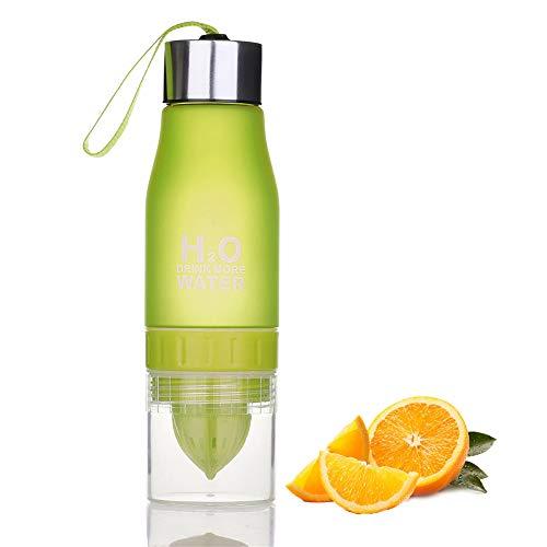 Botella de agua con infusor de frutas, de plástico, sin BPA, tapa portátil para viajes, gimnasio, yoga al aire libre, 650 ml