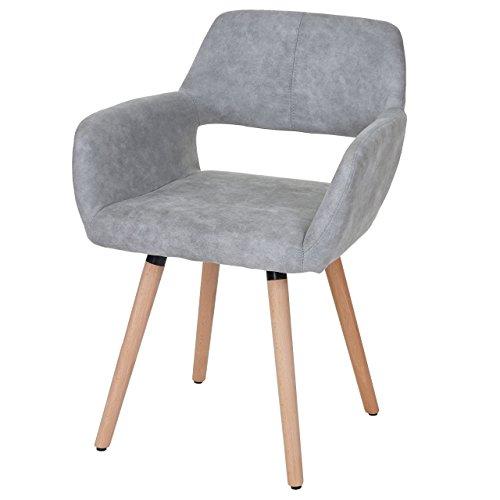 Chaise de Salle à Manger HWC-A50 II, Fauteuil, Design rétro des années 50 - Tissu, Gris béton